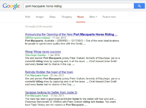 Press Release for Port Macquarie Horse Riding Centre