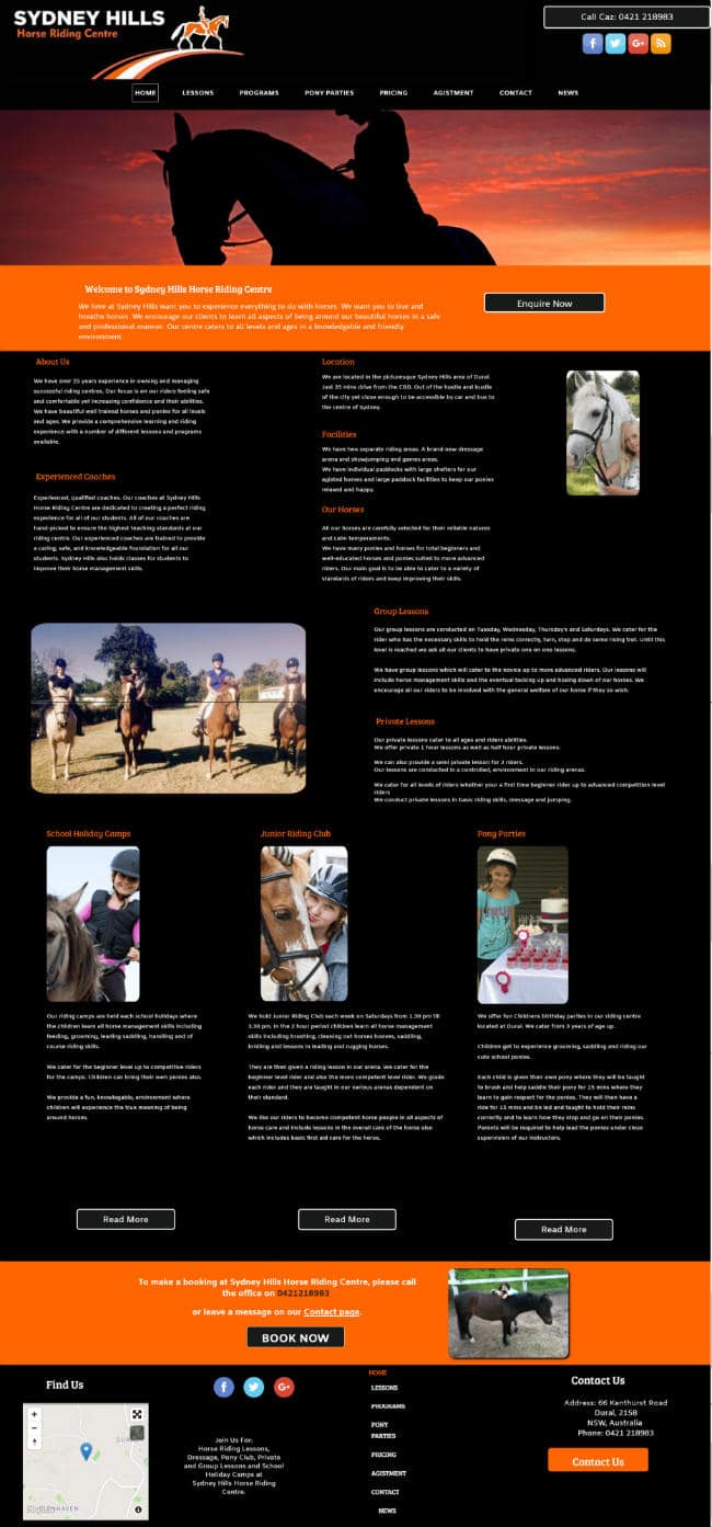 Horse Riding Website Design
