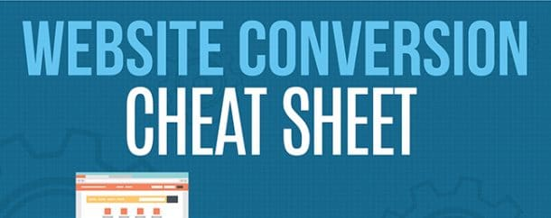 website conversion cheat sheet and infographic